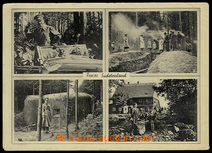 32236 - 1939 4-view  B/W postcard free Sudetenland with two views on