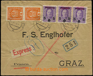 32378 - 1918 Special delivery letter to Austria franked by forerunne
