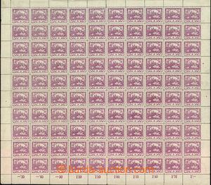 32584 - 1918 Pof.2, 3h fialová, 100-známkový arch se soukromým z