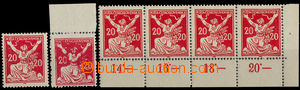 32757 - 1920 Pof.151A, 6 pcs of stamps (1x str-of-4 with control-num