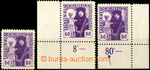 32800 - 1920 Pof.162, 3 pcs of, stamp. with fold through/over corner