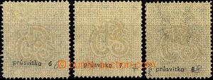 32811 - 1923 Pof.176 Jubilejní, 3ks, průsvitky 6, 7, 8, 1x stopa v