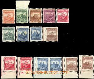 32829 - 1926 Pof.216-224 Hrady, známky bez průsvitek, svěží, na