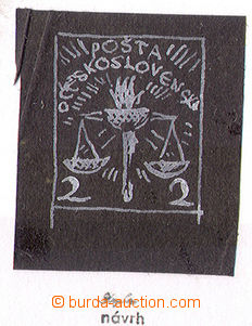 32854 - 1919? stamp design 2h from J.Bendy, printing white-paint on