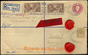 32886 - 1934 p.stat R envelope Mi.EU40B sent as money letter registe