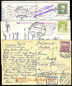 32909 - 1924/38 comp. 5 pcs of Ppc (1x to Switzerland) with pokusy a