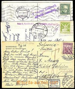 32909 - 1924/38 sestava 5ks pohlednic (1x do Švýcarska) s pokusy o