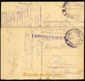 32921 - 1919 2x pohlednice Těšína z doby jeho obsazování, dvojj
