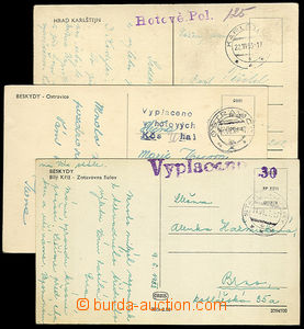 32956 - 1953 3x postcard paid/franked cash, 1x shortly after/around