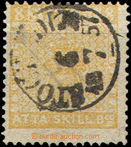 32962 - 1857 Mi.4, yellow?, complete postmark from part/-s heavier,