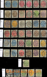 33011 - 1875 Mi.22-31, selection of 42 pcs of stamps two-coloured ov
