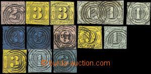 33015 - 1852 Mi.5-12, sestava 14ks známek (1x 2-páska), vybraná r