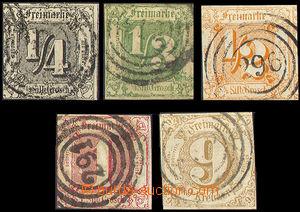 33017 - 1862 sestava 5ks známek Mi.26-29, 34, dobrá razítka, kat.