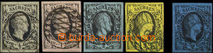 33036 - 1851 Mi.3-6, 7, King Friedrich August II., wide margins, mř