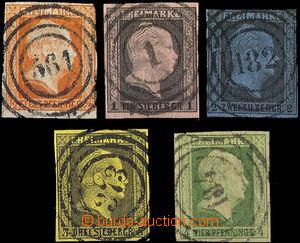 33053 - 1850 Mi.1-4, 5, Wilhelm IV., chosen numeral postmark, 2x clo