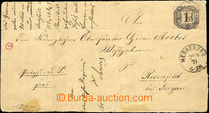 33084 - 1871 folded letter with postage-due stmp Mi.4, 2x CDS Merseb