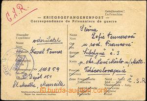 33194 - 1948 FRANCIE,  zajatecká pošta, skládaný dopis - Kriegsg