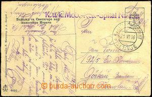 33207 - 1916 pohlednice zaslaná do Čech, fialové řádkové razí