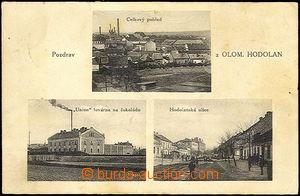33217 - 1929 HODOLANY - 3-views,  B/W, factory for chocolate, genera