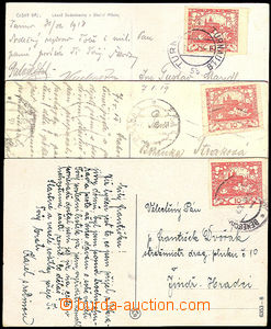33288 - 1918/19 3 postcard  franked with. stamps Pof.5 in/at postal
