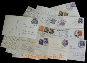 33289 - 1939/45 VLAKOVÉ POŠTY ČaM,  partie 13ks pohlednic s razí