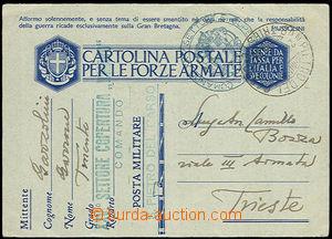 33397 - 1941 ITÁLIE  dopisnice pro brannou moc osvobozená od pošt