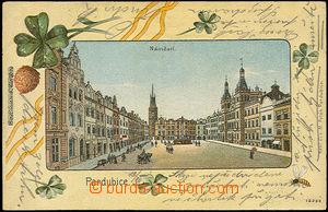33436 - 1910 Pardubice - Náměstí v rámečku, v okraji čtyřlís