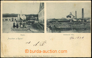 33462 - 1898 Rájec - village square, Rafinerie lihu (factory). Us.