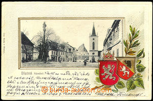 33512 - 1904 Blatná - Square, coats of arms, embossed. Us. abraded