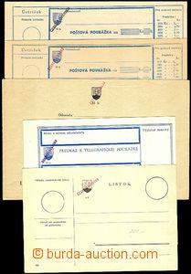 33548 - 1945 comp. 5 pcs of Slovak printed-matters with overprint Č