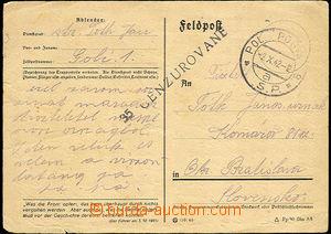 33605 - 1942 SLOVENSKO  lístek německé FP použitý přes slovens