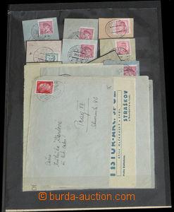 33607 - 1932/? VLAKOVÉ POŠTY   partie 40ks výstřižků s razítk