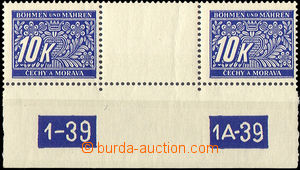 33619 - 1939 Pof.DL13  10K blue, two-stamps gutter with lower margin