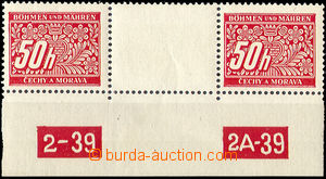 33621 - 1939 Pof.DL6, two-stamps gutter with lower margin and plate