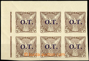 33623 - 1934 Pof.OT3ST  L upper corner blk-of-6 with 2x joined types