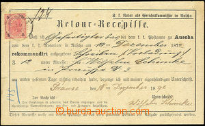 33630 - 1892 Return card (Retour - Receipt) with 5 Kreuzer, CDS Ausc
