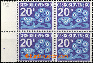 33775 - 1972 Pof.D93xb, Postage due stmp, block of four with L margi