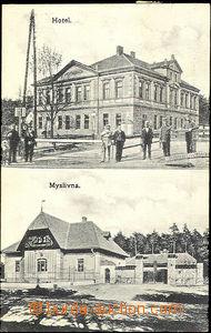 33794 - 1916 Jirny - čb 2-záběrový pohled na hotel s postavami a