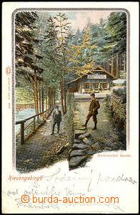 33795 - 1901 Krkonoše, Bouda u Mumlavského vodopádu, barevná lit