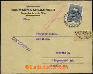 33824 - 1938 CENSORSHIP  commercial letter sent from Podmokly 19.IX.