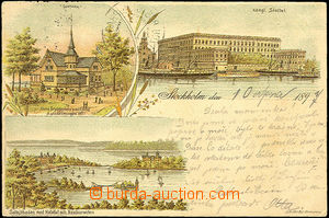 33827 - 1897 Stockholm -  color 3-views drawn lithography, long addr