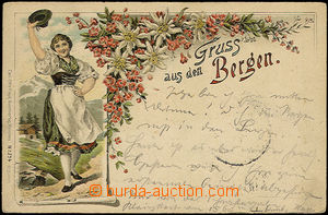 33836 - 1896 Bergen - Germany, color drawn collage with girl in cost