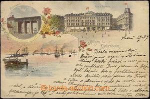 33846 - 1897 Copenhagen -  color 3-views lithography, long address,