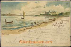 33859 - 1897 Helsingborg - color single-view lithography shore, long