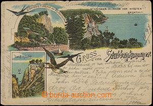 33870 - 1897 Stubbenkammer - barevná 3-záběrová litho, DA, proš