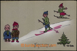 33873 - 1918 New Year's wish, figures children on/for sněhu, color,