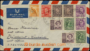 33878 - 1950 letecký dopis do ČSR, vyfr. bohatou frankaturou 10ks vý