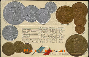 33883 - 1900 coins on postcards, France, embossed lithography, Un, n