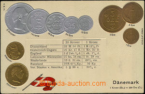 33887 - 1900 coins on postcards, Denmark, embossed lithography, Un,