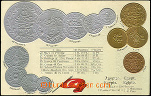 33894 - 1900 coins on postcards, Egypt, embossed lithography, Un, ni